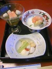 20 ホテル夕食前菜(蟹とじゅんさいの酢の物・日高豆腐等)